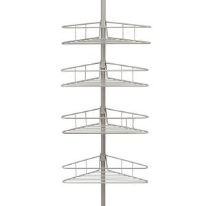Kenney 4-Tier Pole Tension Shower Caddy in Satin Nickel by Kenney