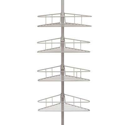 4-Tier Pole Tension Shower Caddy in Satin Nickel