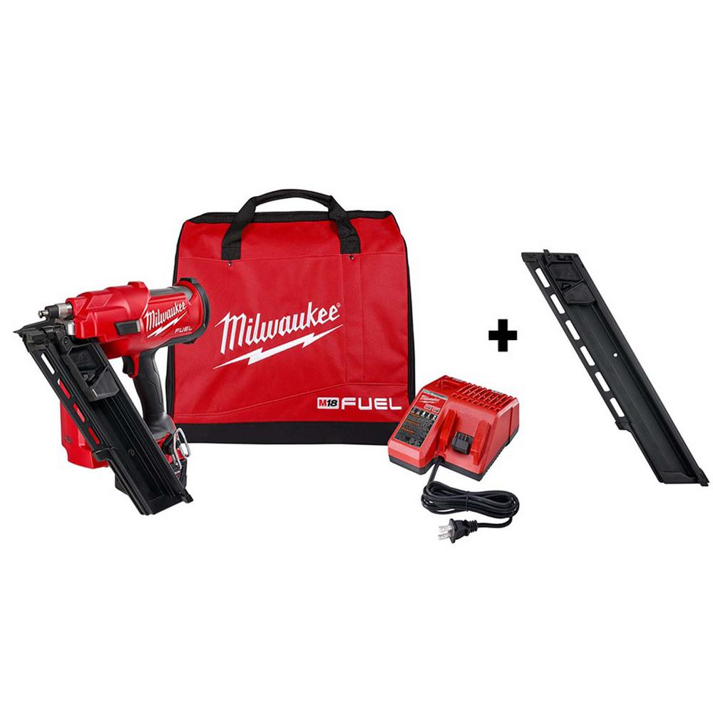 Milwaukee M18 FUEL 3-1/2 in. 18-Volt 30-Degree Lithium-Ion Brushless Cordless Framing Nailer Kit w/ Battery, Extended Capacity Mag