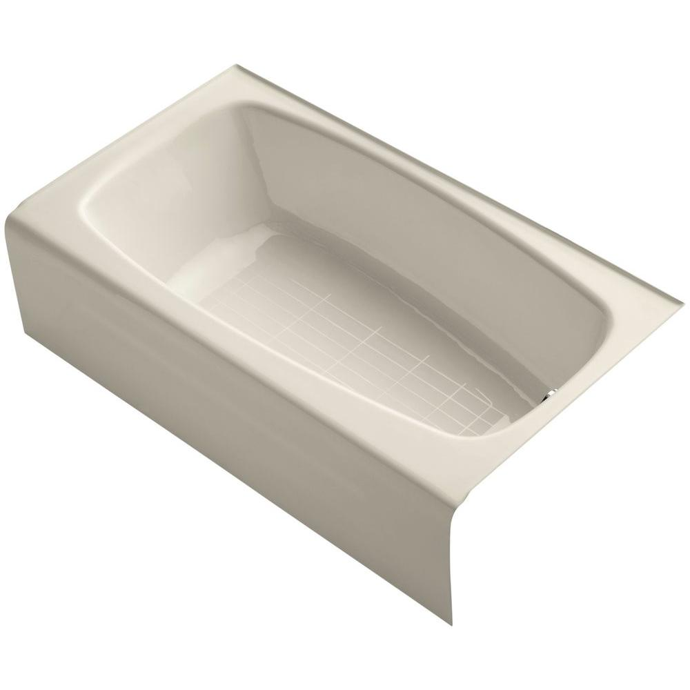 KOHLER Seaforth 4.5 ft. Right Drain Rectangular Alcove Soaking Tub in Almond