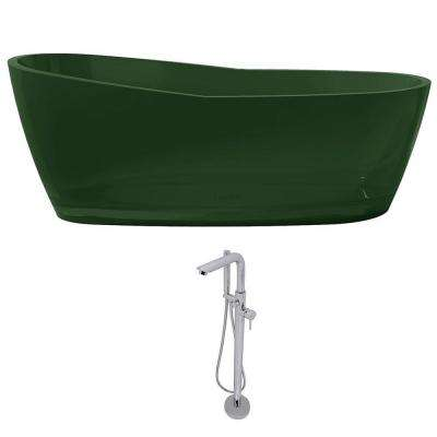 Ember 65.6 in. Man-Made Stone Slipper Flatbottom Non-Whirlpool Bathtub in Emerald Green and Sens Faucet in Chrome
