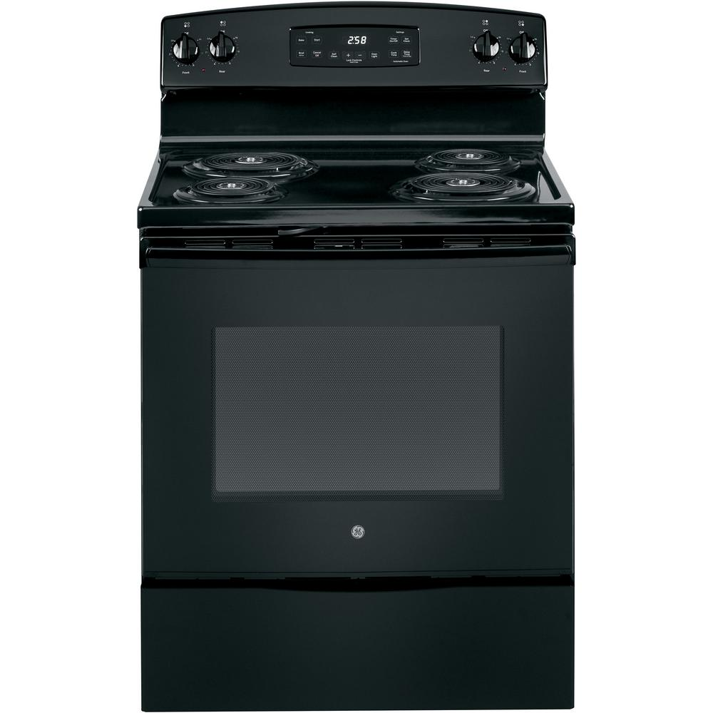 30 in. 5.3 cu. ft. Electric Range with Self-Cleaning Oven in Black GE appliances provide up-to-date technology and exceptional quality to simplify the way you live. With a timeless appearance, this family of appliances is ideal for your family. And, coming from one of the most trusted names in America, you know that this entire selection of appliances is as advanced as it is practical. Color: Black.