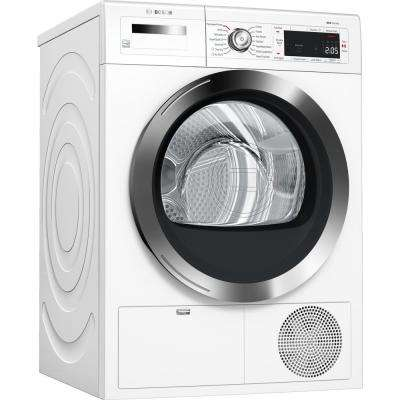 800 Series 24 in. 4.0 cu. ft. 240-Volt White with Chrome Accents Electric Ventless Compact Dryer with Home Connect