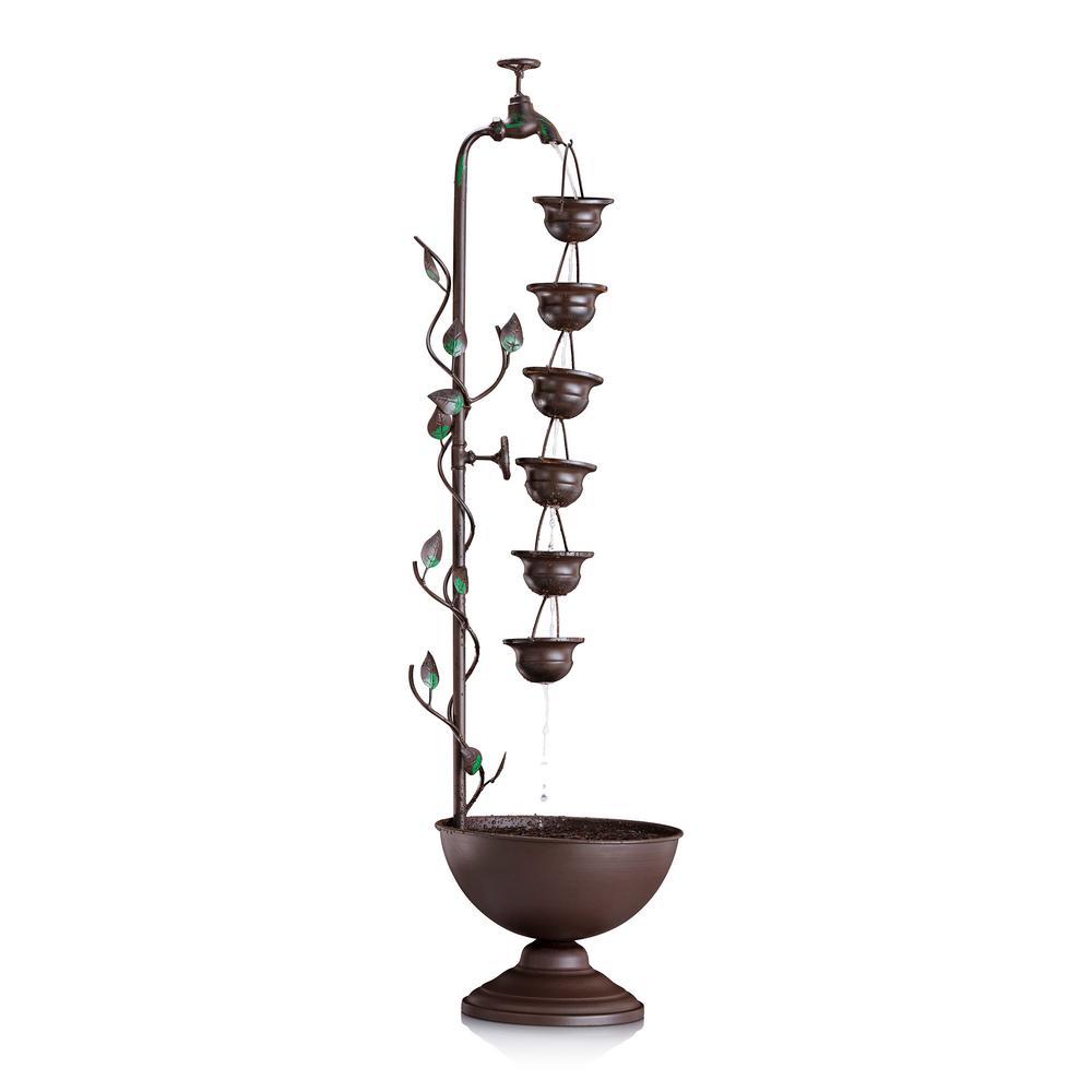 38 in. Tall Indoor/Outdoor Hanging 6-Cup Tiered Floor Water Fountain, Bronze
