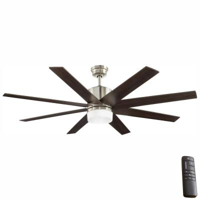 60 in. Indoor Zolman Pike Integrated LED DC Brushed Nickel Ceiling Fan with Light Kit and Remote Control