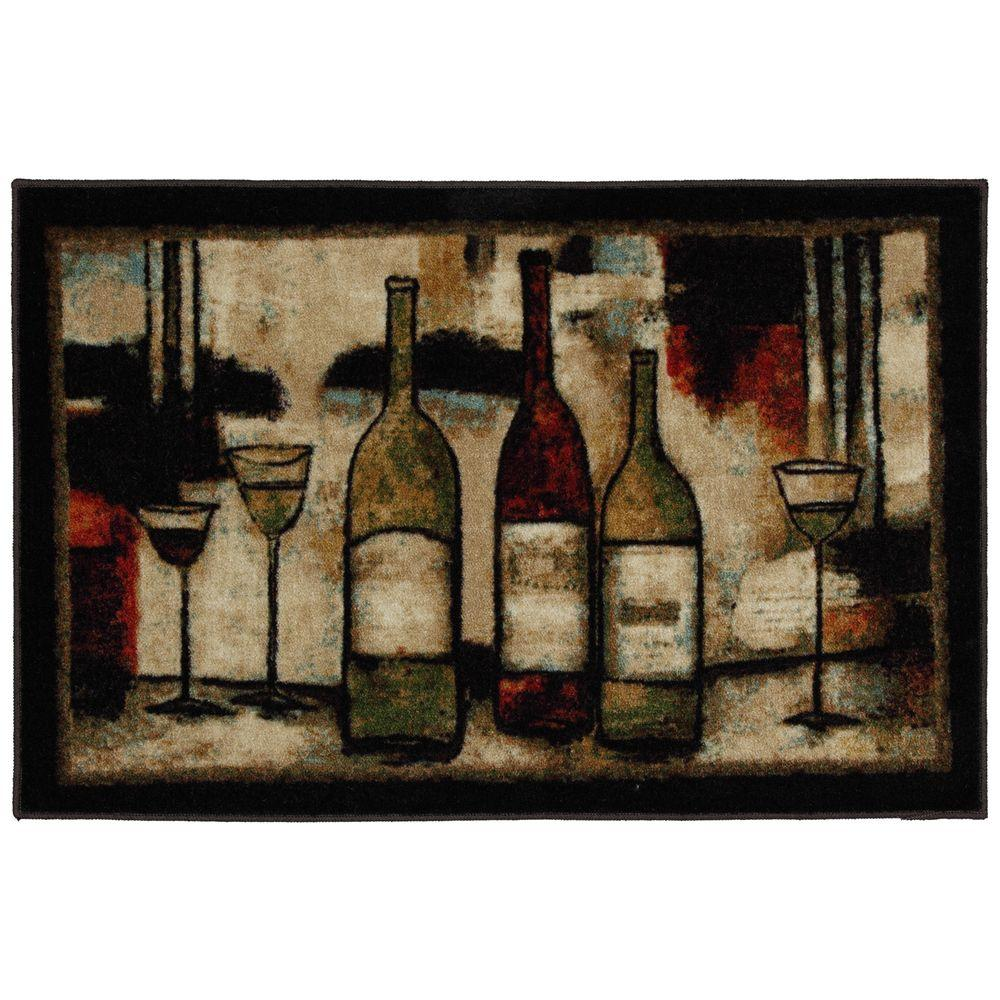 MOHAWK Wine and Glasses 2 ft. 6 in. x 3 ft. 10 in. Kitche...