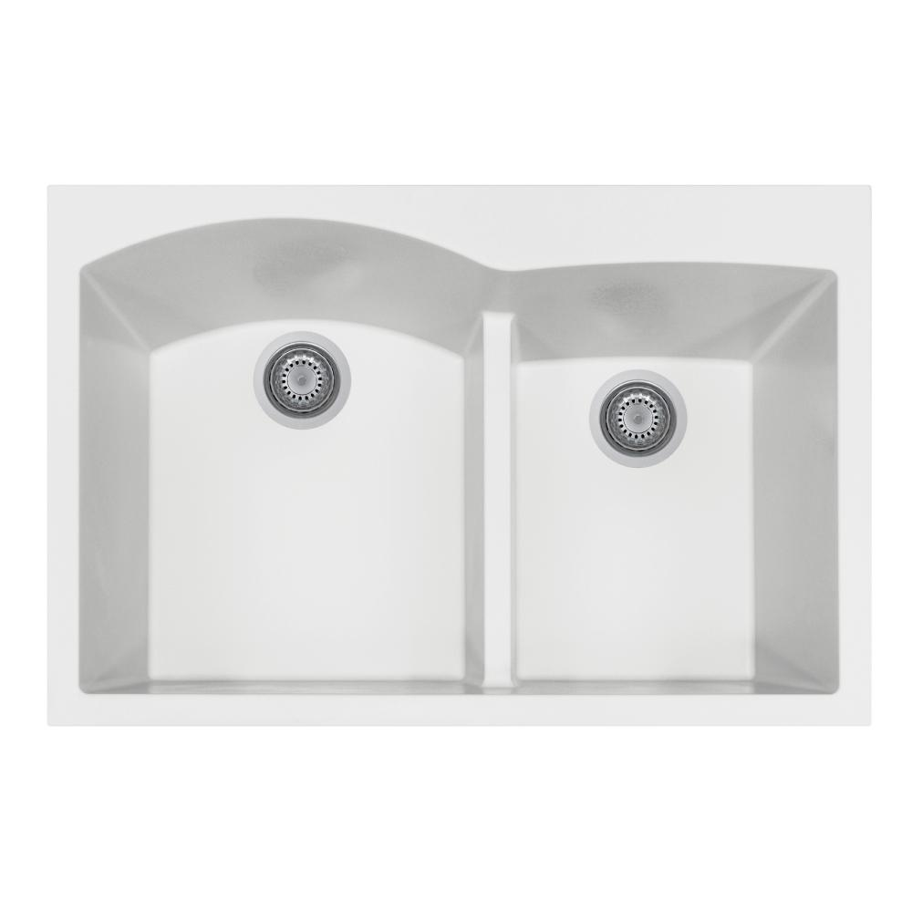 Quartztone Series Drop-in Granite 33 in. Double Bowl Kitchen Sink