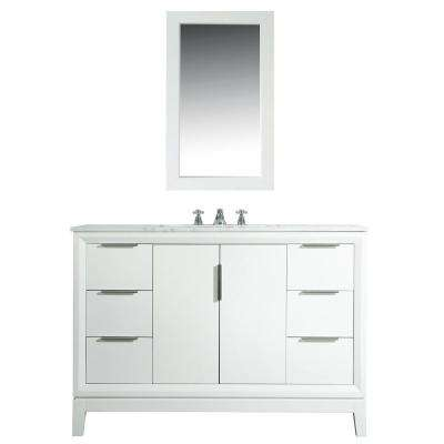 Elizabeth 48 in. Bath Vanity in Pure White with Carrara White Marble Vanity Top with Ceramics White Basins and Faucet