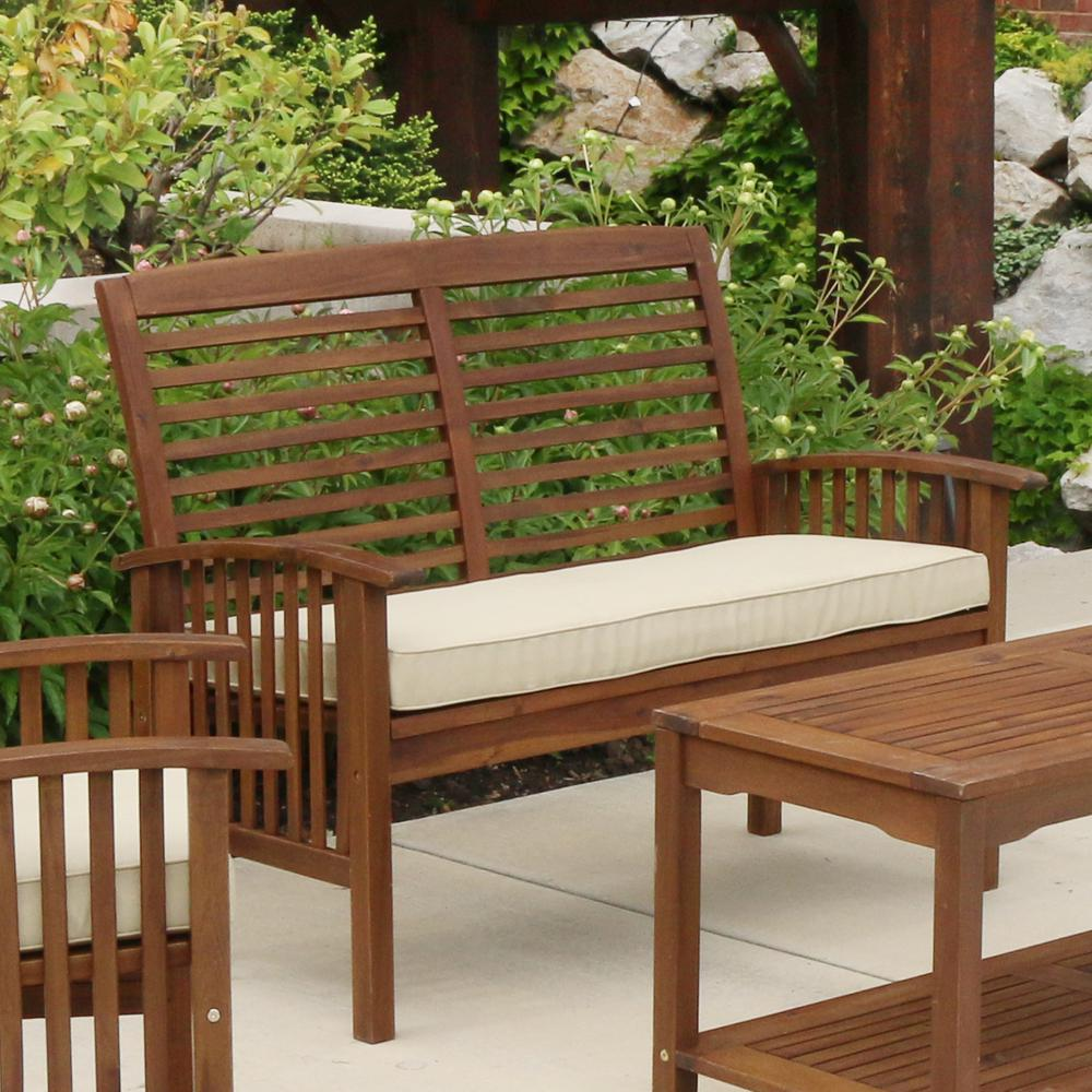Outstanding Walker Edison Furniture Company Boardwalk 48 In Dark Brown Acacia Wood Outdoor Loveseat Bench With White Cushions Evergreenethics Interior Chair Design Evergreenethicsorg