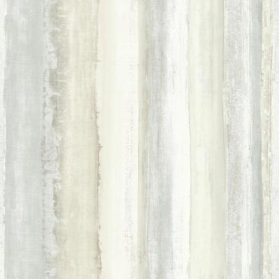 28.18 sq. ft. Tan Watercolor Stripe Peel and Stick Wallpaper