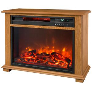 Lifesmart 28.5 inch Portable Fireplace Heater with Decorative Mantel Trim by Lifesmart
