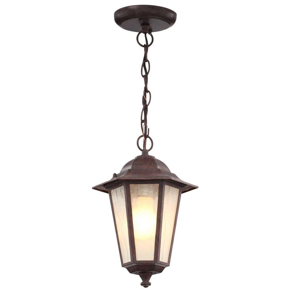 1-Light Outdoor Old Bronze Incandescent Pendant Light