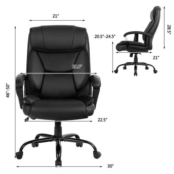 Costway 500lb Massage Office Chair Executive Pu Leather Computer Desk Chair Hw65331bk The Home Depot