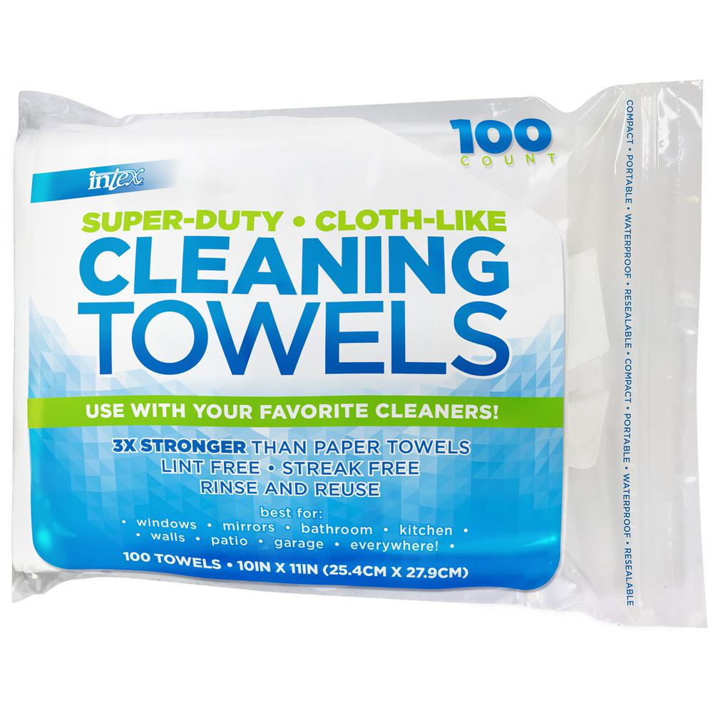 Intex 10 in. x 11 in. Cloth-Like Cleaning Towels (100-count)