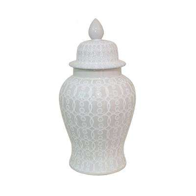 25 in. White Ceramic Temple Jar