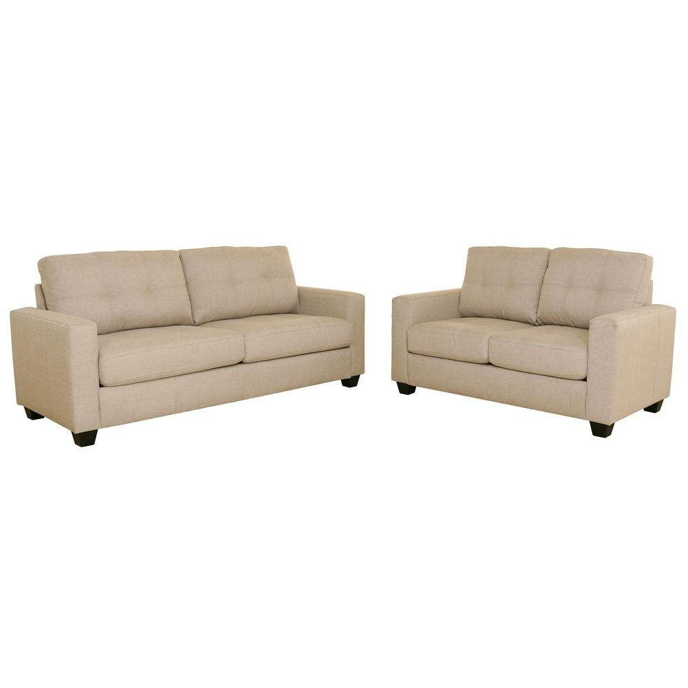 Tanya modern tufted sofa and loveseat set beige s5093 2pc for Tufted couch set