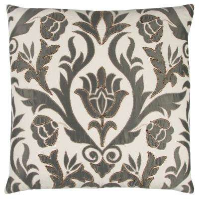 Floral 22 in. x 22 in. Grey Decorative Filled Pillow
