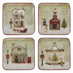 Multicolor Vintage Town Square Assorted Salad Plate (Set of 4)