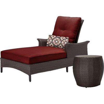 Gramercy 2-Piece All-Weather Wicker Chaise Patio Seating Set with Crimson Red Cushions
