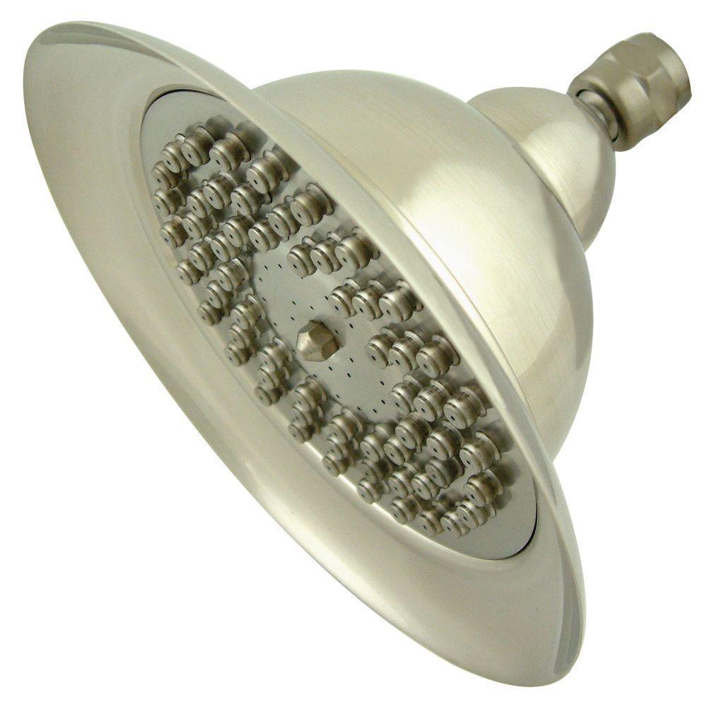 Vintage Bell 1-Spray 6 in. Rain Showerhead in Satin Nickel