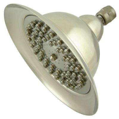 Vintage Bell 1-Spray 6 in. Rain Showerhead in Satin Nickel