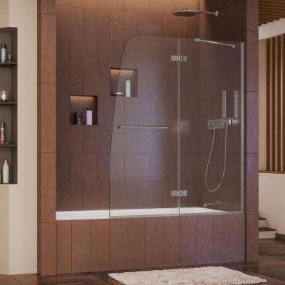 Aqua Ultra 48 in. x 58 in. Semi-Framed Pivot Tub/Shower Door in Brushed Nickel with Handle