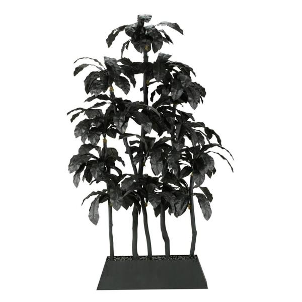 D&W Silks Indoor Black Birdnest Palm Screen in Rectangle Planter