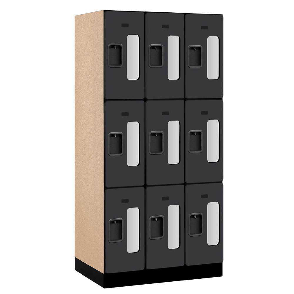 Salsbury Industries S-33000 Series 36 in. W x 76 in. H x 21 in. D 3-Tier See-Through Designer Wood Locker in Black
