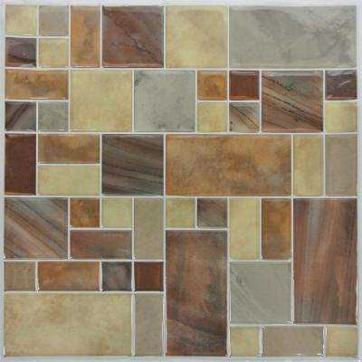 10.5 in. x 10.5 in. Brown Deco Peel and Stick Tiles (4-Pack)