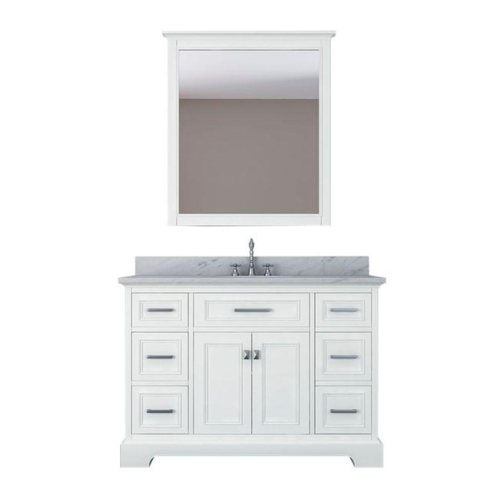 Alya Bath Yorkshire 49 in. W x 22 in. D Vanity in White with Marble Vanity Top in White with White Basin and Mirror