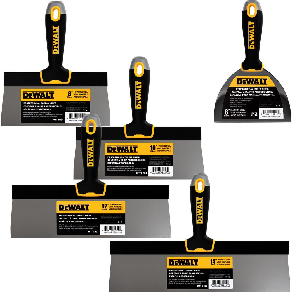 DEWALT Stainless Steel Taping Knife Set with Soft Grip Handles