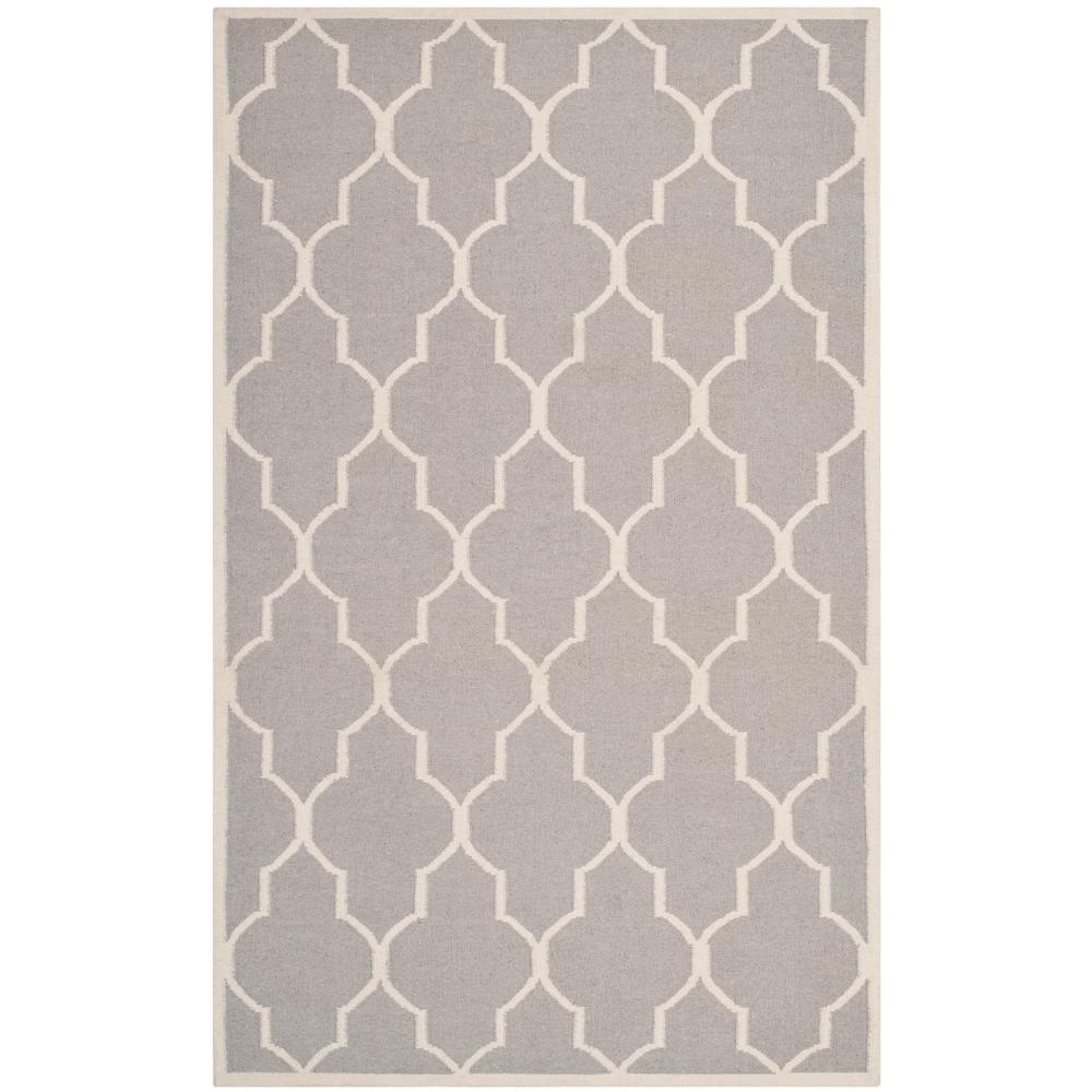 Dhurries Dark Gray/Ivory 9 ft. x 12 ft. Area Rug