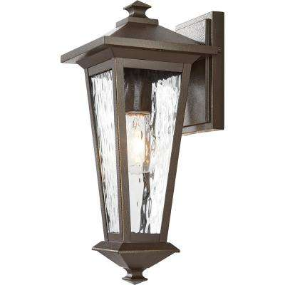 1-Light Oil Rubbed Bronze with Gold Highlights Outdoor 8 in. Wall Mount Lantern with Clear Water Glass