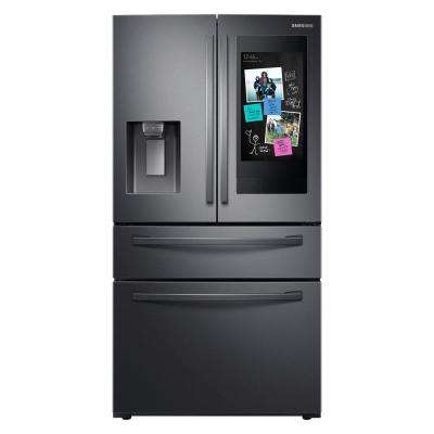 27.7 cu. ft. Family Hub 4-Door French Door Smart Refrigerator in Fingerprint Resistant Black Stainless Steel