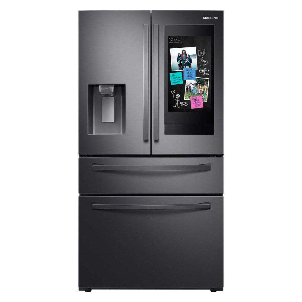 27.7 cu. ft. Family Hub 4-Door French Door Smart Refrigerator in Fingerprint Resistant Black Stainless Steel