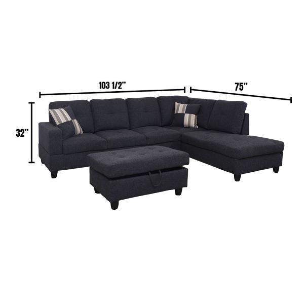 Star Home Living 3 Piece Jet Black Linen 4 Seater L Shaped Left Facing Chaise Sectional Sofa With Ottoman F125a The Home Depot