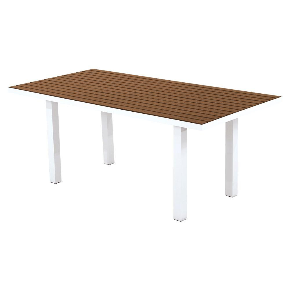 Satin White Teak Patio Dining Table Euro Product Picture 2526
