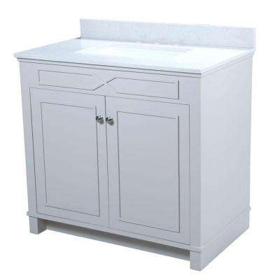 Bombay 36.5 in. W x 22 in. D Vanity in French Gray with Quartz Vanity Top in White with White Basin