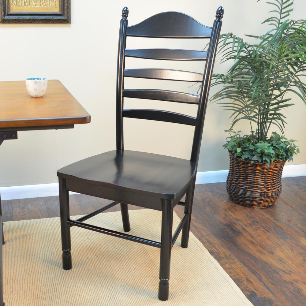 Carolina Cottage Whitman Antique Black Wood Dining Chair