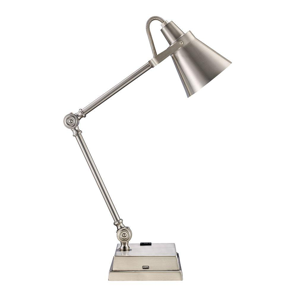Monteaux Lighting 23 In Adjule Brushed Nickel Led Desk Lamp With Built Usb