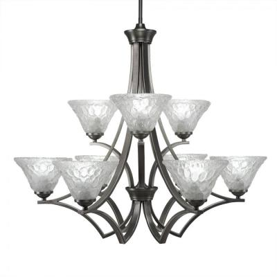 9-Light Graphite Chandelier with Italian Bubble Glass Shade