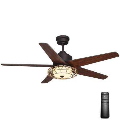 Ellard 52 in. LED Indoor Oil Rubbed Bronze Ceiling Fan with Light Kit and Remote Control