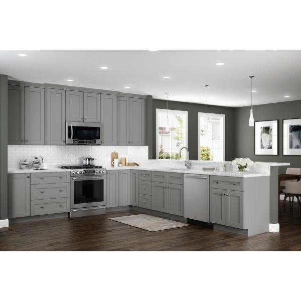 Home Decorators Collection Washgton Medium Veiled Gray Thermofoil Plywood Shaker Stock Semi Custom Base Kitchen Cabinet 27 In W X 24 In D B27 Wvg The Home Depot