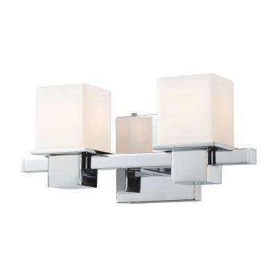 Lexington 2-Light Chrome and White Opal Glass Vanity Light