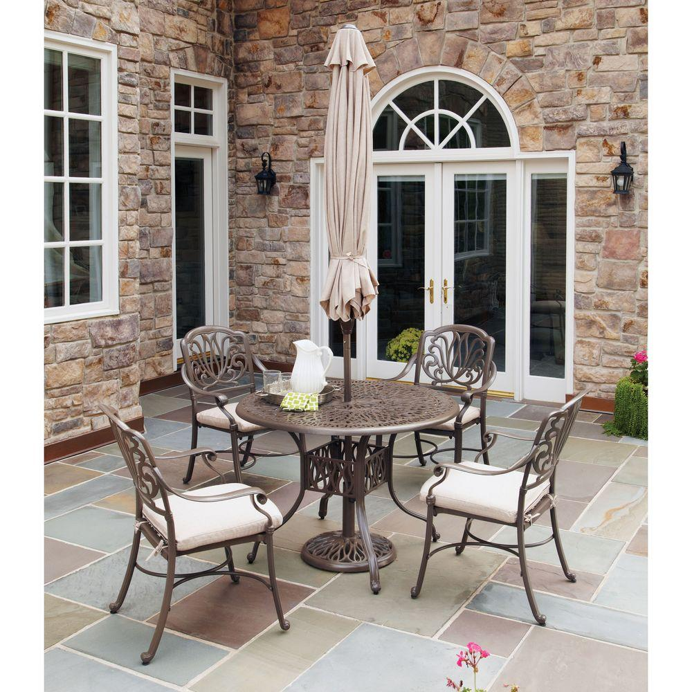 Home Styles Taupe 5-Piece Patio Dining Set with Natural C...