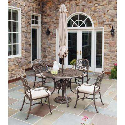Taupe 5-Piece Patio Dining Set with Natural Cushions and Umbrella