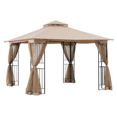 Nikkie 10 ft. x 10 ft. Steel Gazebo with 2-Tier Khaki Canopy