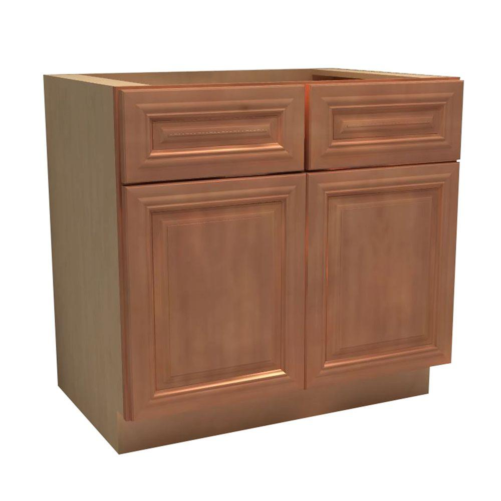 Assembled Base Cabinet Doors Drawers Cinnamon Red 2625 Product Picture