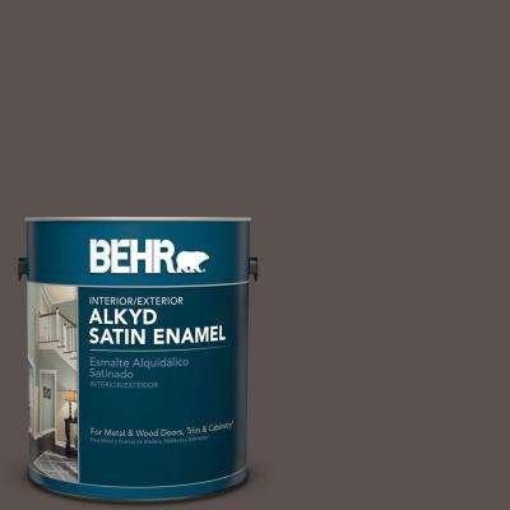 1 gal. #AE-24 Barn Brown Satin Enamel Alkyd Interior/Exterior Paint
