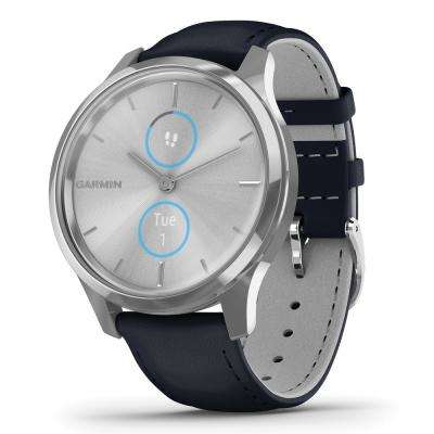 vivomove Luxe Hybrid Smart Watch in Silver Stainless Steel Case with Navy Italian Leather Band